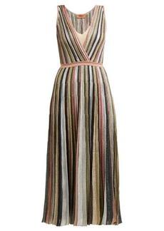 Missoni Metallic stripe-knitted midi dress