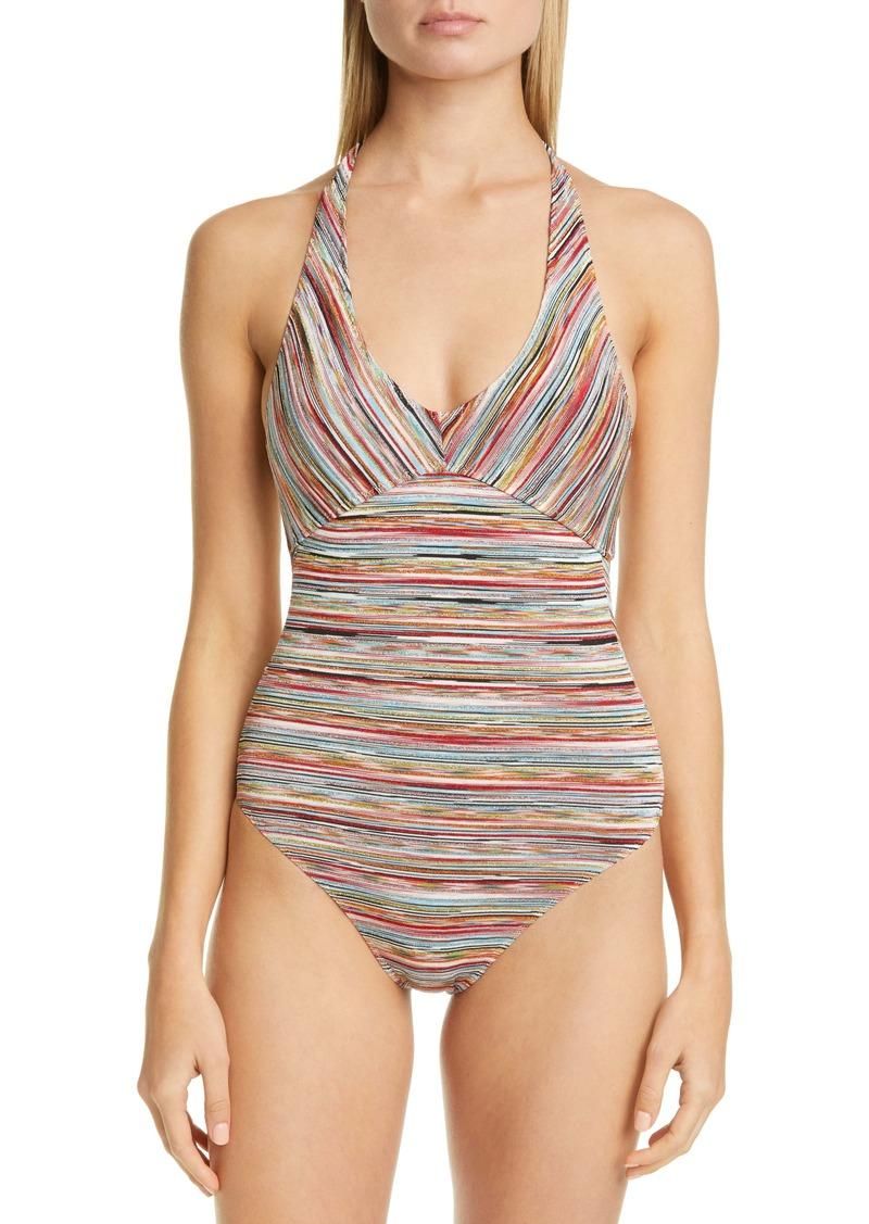 Missoni Metallic Stripe One-Piece Swimsuit