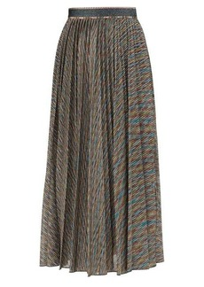 Missoni Metallic-stripe pleated midi skirt
