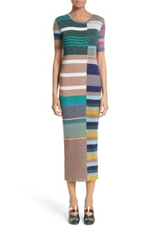 Missoni Metallic Stripe Rib Knit Dress