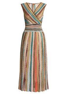 Missoni Metallic-striped V-neck knitted dress