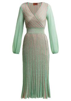 Missoni Metallic-striped wrap dress