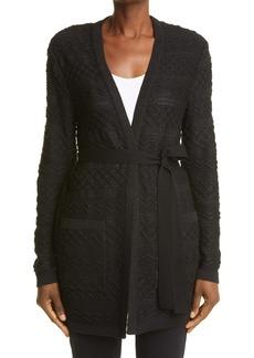Missoni Metallic Wool Blend Belted Cardigan