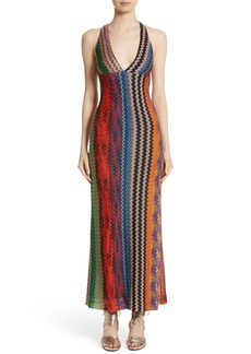 Missoni Metallic Zigzag Stripe Knit Gown