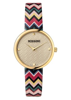 Missoni Multicolor Leather Strap Watch, 34mm (Nordstrom Exclusive)