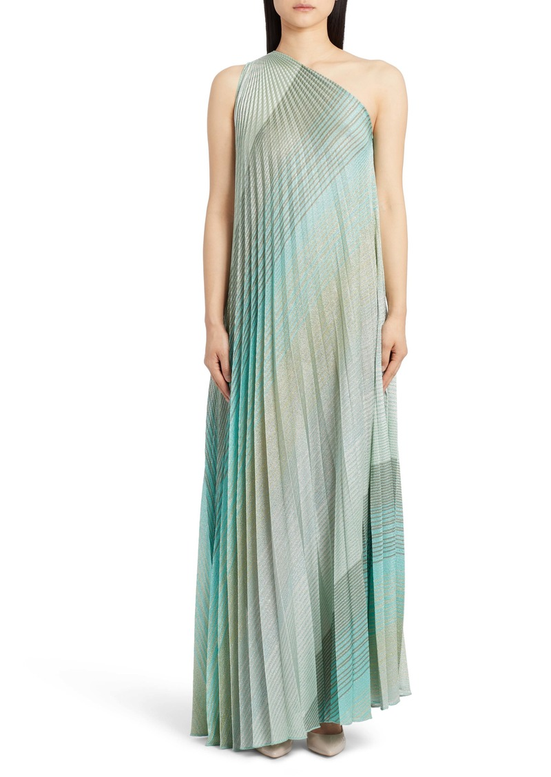 Missoni One-Shoulder Plissé Metallic Stripe Knit Gown