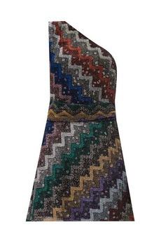 Missoni One-shoulder polka-lined chevron-striped dress
