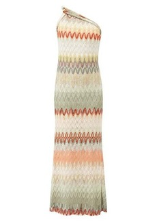 Missoni One-shoulder zigzag knitted gown