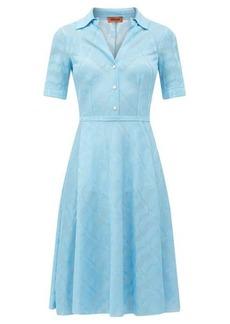 Missoni Open-collar zigzag jacquard satin dress