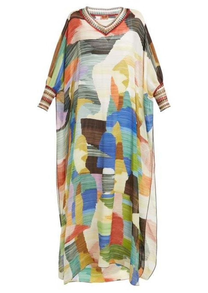 Missoni Paint-print knitted-trim silk dress