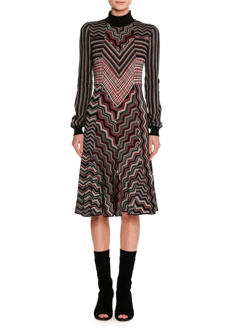 Missoni Patchwork Jacquard Turtleneck Sweater Dress