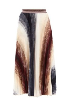 Missoni Pleated abstract-jacquard knit midi skirt