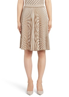 Missoni Pleated Metallic Stripe Knit Skirt