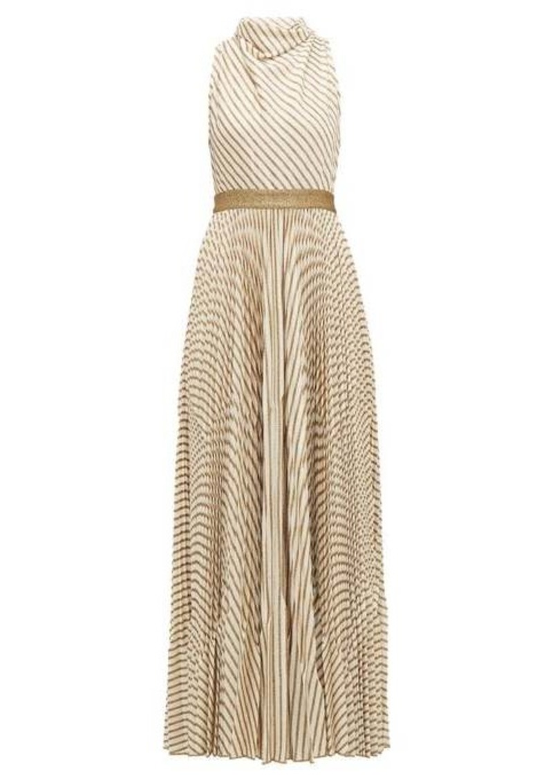 Missoni Pleated metallic-striped knitted gown