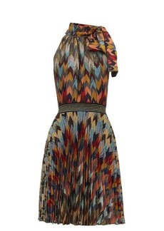 Missoni Pleated-skirt chevon-patterned knitted dress
