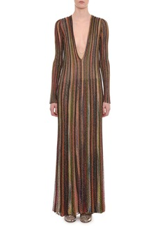 Missoni Plunging Long-Sleeve Metallic Striped Long Dress
