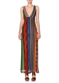 Missoni Plunging Twist-Back Multicolor Knit Maxi Dress