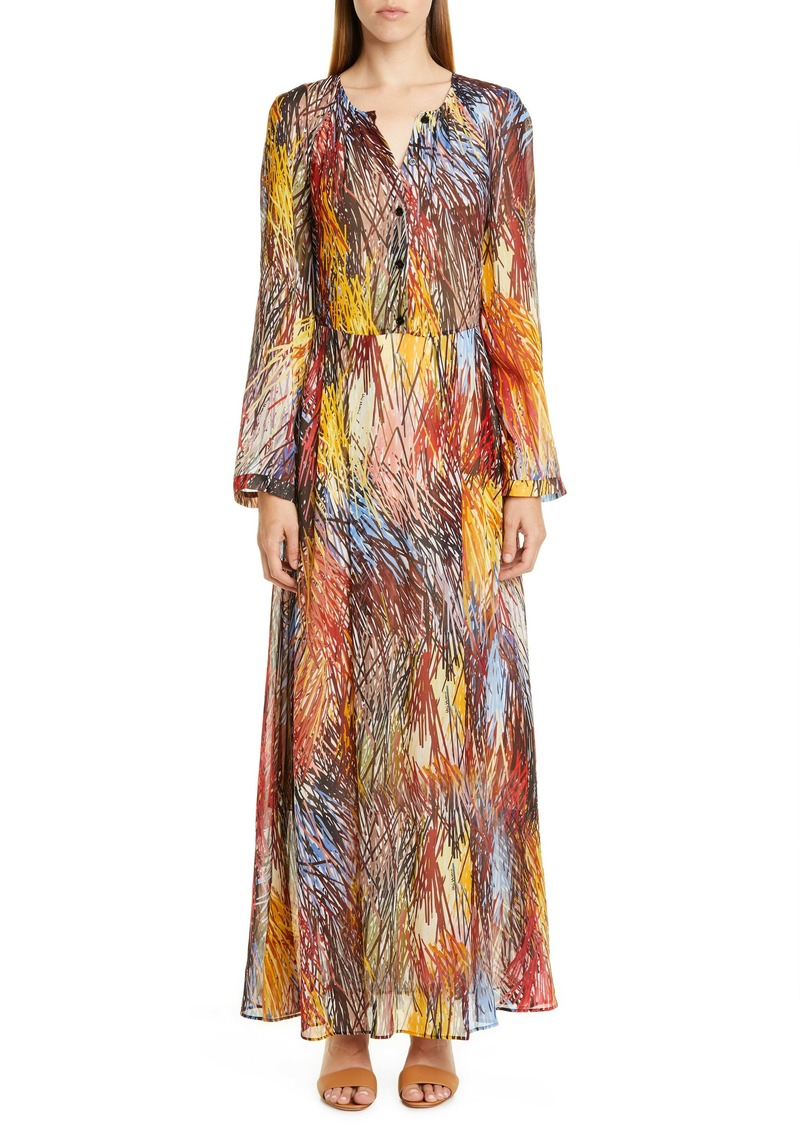 Missoni Print Long Sleeve Maxi Dress