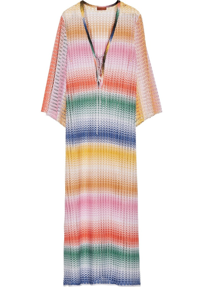 missoni missoni rete sfumata lace up crochet knit kaftan swimwear shop it to me. Black Bedroom Furniture Sets. Home Design Ideas