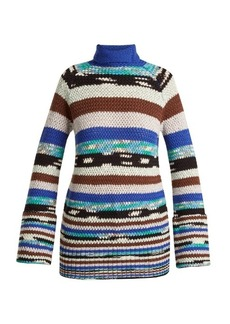 Missoni Roll-neck striped wool-blend knit sweater