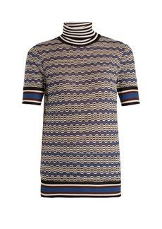 Missoni Roll-neck zigzag-striped knit top
