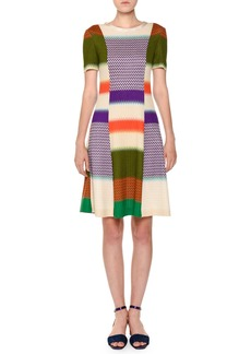 Missoni Short-Sleeve Fit-and-Flare Multicolor Knit Dress