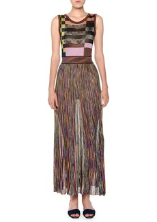Missoni Sleeveless Multicolor Pleated Knit Maxi Dress