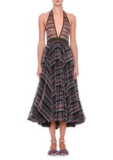 Missoni Sleeveless Plunging Rainbow-Stripe Metallic Gown w/ Bubble Hem