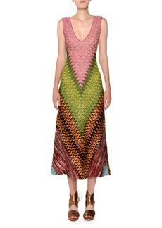 Missoni Sleeveless V-Neck Zigzag Knit Dress