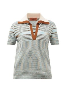 Missoni Spread-collar wool-blend knitted polo shirt