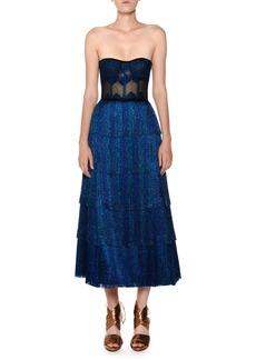 Missoni Strapless Fringe Corset Lamé Tea-Length Metallic Knit Gown