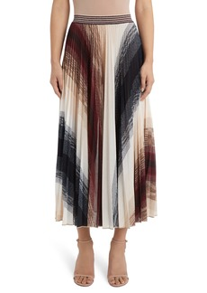 Missoni Stripe Pleated Metallic Knit Skirt