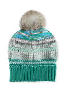 Missoni Striped Beanie Hat w/ Fur Pompom