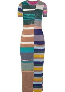Missoni Striped metallic ribbed-knit midi dress