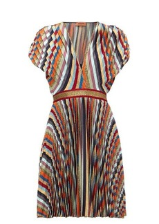 Missoni Striped pleated-lamé mini dress