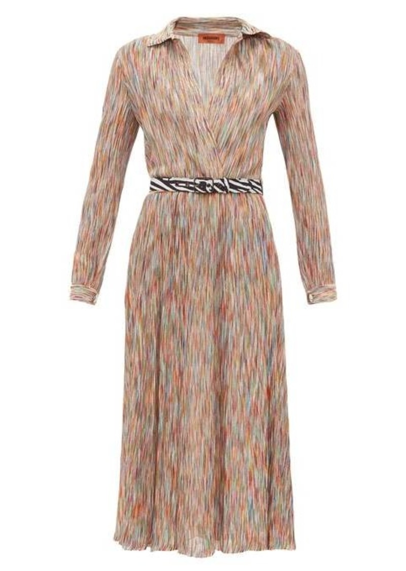 Missoni Surplice-neck space-knit cotton-blend midi dress