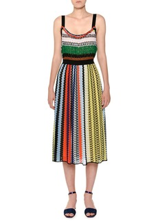 Missoni Thin-Strap Elastic-Waist Multicolor Knit Midi Dress