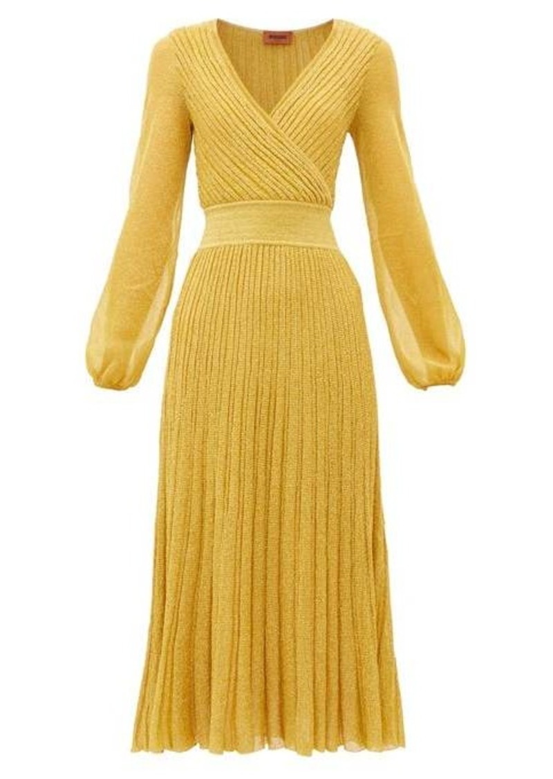 Missoni V-neck balloon-sleeve ribbed-knit dress