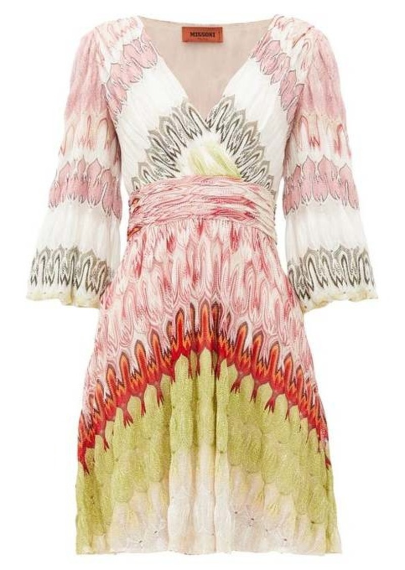 Missoni V-neck balloon-sleeve wrap-front dress