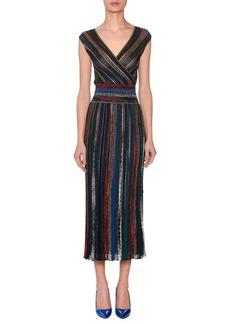 Missoni V-Neck Cap-Sleeve Metallic Striped Wrap Midi Dress
