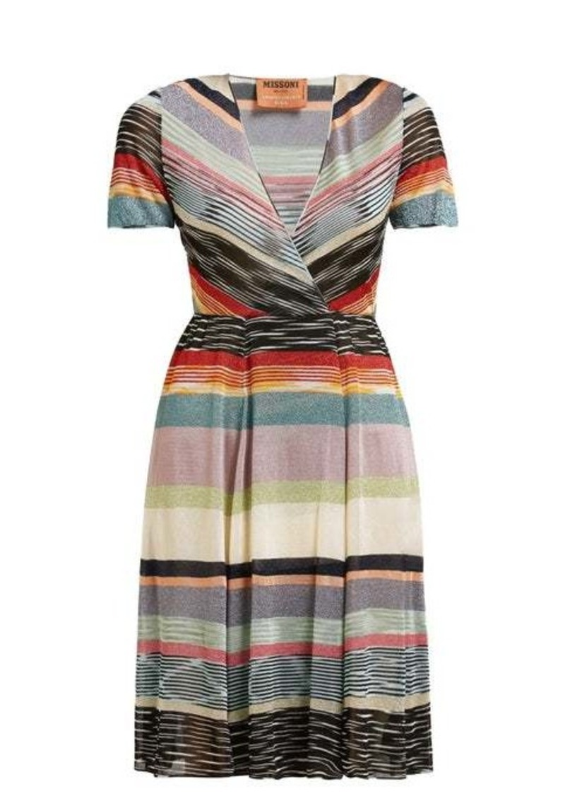 Missoni V-neck lamé-striped midi dress