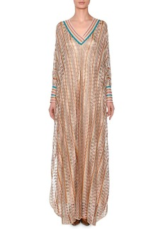 Missoni V-Neck Long-Sleeve 3-D Metallic Zigzag Long Kaftan Gown