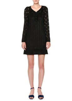 Missoni V-Neck Long-Sleeve Metallic-Knit Tunic Dress
