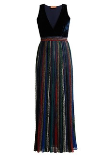 Missoni V-neck velvet striped lurex maxi dress