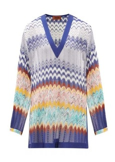 Missoni V-neck zigzag knitted tunic top
