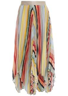 Missoni Woman Asymmetric Pleated Metallic Knitted Skirt Platinum