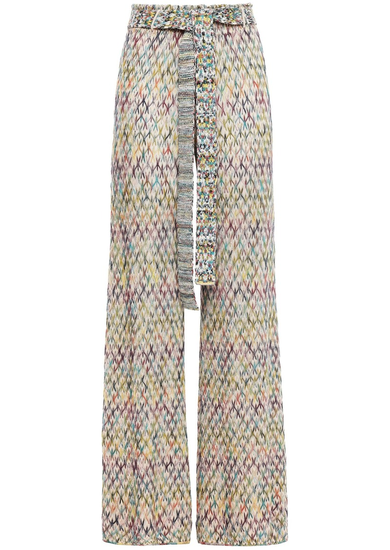 Missoni Woman Belted Crochet-knit Wide-leg Pants Cream