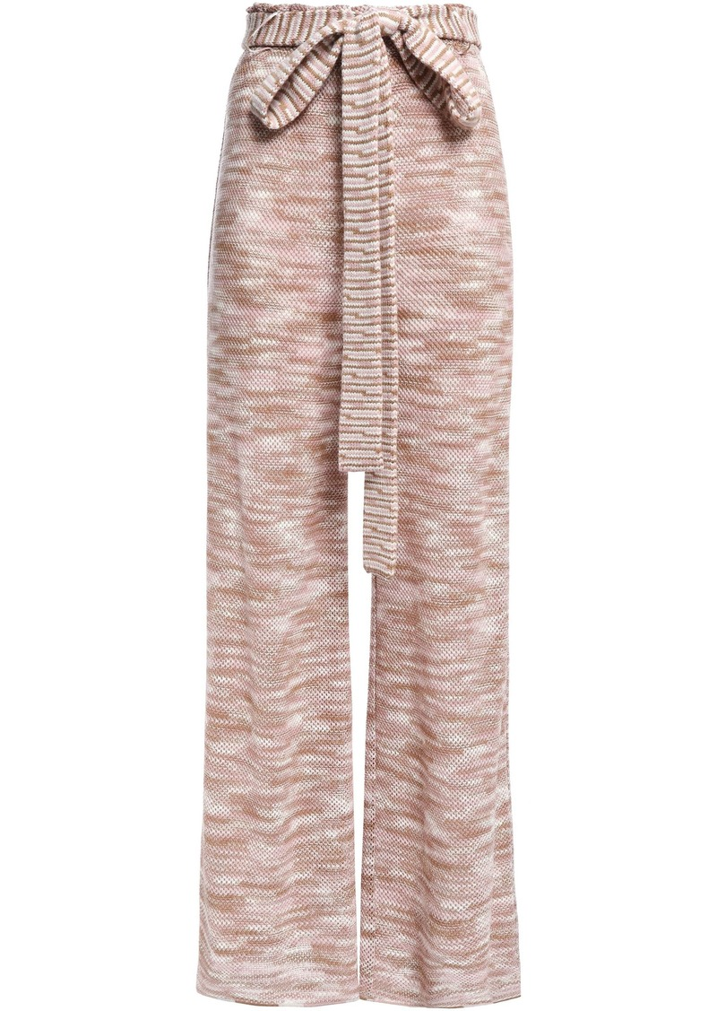 Missoni Woman Belted Crochet-knit Wool Wide-leg Pants Blush