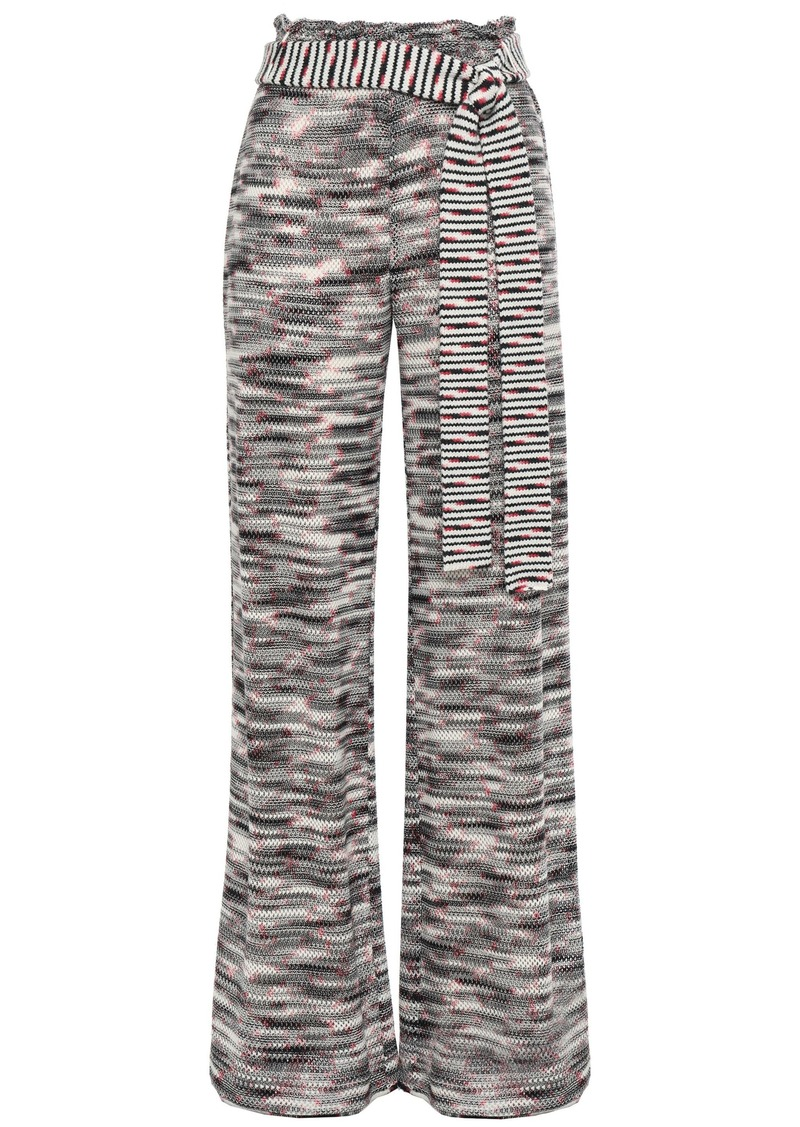 Missoni Woman Belted Crochet-knit Wool Wide-leg Pants Gray