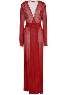 Missoni Woman Belted Metallic Ribbed-knit Cardigan Crimson